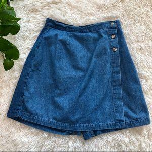 90s Vintage Denim Wrap Button Skort Skirt Y2K